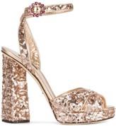 Dolce & Gabbana Rose Gold sequin 135 platform sandals