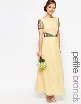 Maya Petite Cap Sleeve Maxi Dress With Embellished Waist Detail