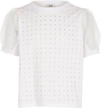 River Island Girls White diamante organza sleeve T-shirt
