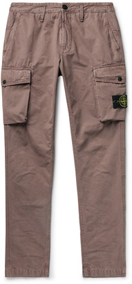 Stone Island Tapered Garment-Dyed Brushed Cotton-Canvas Cargo Trousers