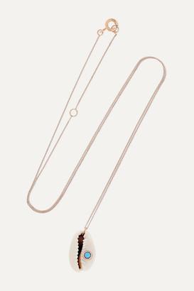 Pascale Monvoisin Cauri 9-karat Rose Gold, Porcelain And Turquoise Necklace