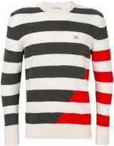 MAISON KITSUNÉ striped crew neck jumper - men - Wool - S