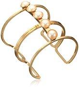Yochi Pearl Pops on Double Link Cuff Bracelet