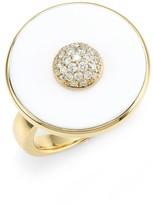 Pyramide 18K Yellow Gold, Diamond & White Agate Disc Ring