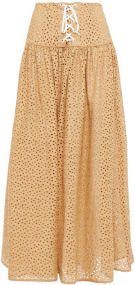 Marysia Swim Riviera Lace-up Broderie Anglaise Cotton Midi Skirt