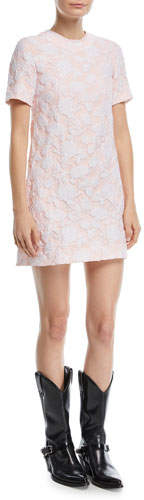 Calvin Klein Crewneck Short-Sleeve Rose-Jacquard A-Line Dress