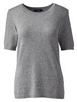 Lands' End Women's Short Sleeve Cashmere Sweater-Chili Pepper