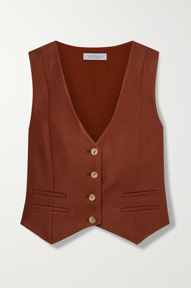 Gabriela Hearst Zelos Wool And Silk-blend Twill Vest - Brick