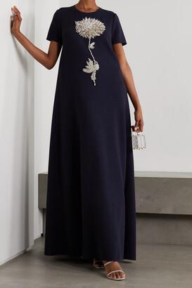 Oscar de la Renta - Crystal-embellished Wool-blend Gown - Blue