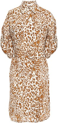 Zimmermann Belted Leopard-print Silk Crepe De Chine Mini Dress