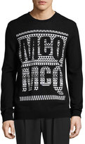 McQ by Alexander McQueen Fair Isle Logo Crewneck Sweater, Darkest Black