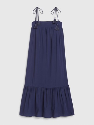Gap Apronneck Tassel Tie Midi Dress