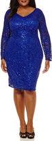 BLUE SAGE Blu Sage Long-Sleeve Lace V-Neck Sheath Dress - Plus