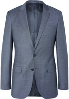 HUGO BOSS Blue Slim-Fit Pin-Dot Wool Suit