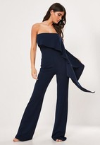 Missguided Tall Navy Extreme Frill Bandeau Wide Leg Romper