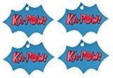 Set of Four Comic Book Explosion Air Fresheners, Faded Denim, Kapow