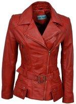 Infinity Ladies Designer Retro Feminine Leather Long Biker Jacket