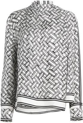 Bottega Veneta Printed Twill Tie Wrap Long-Sleeve Top