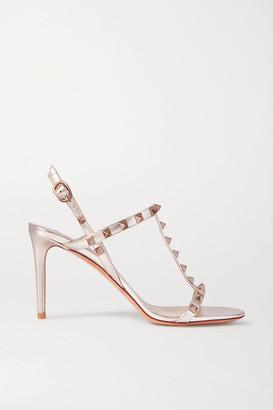 Valentino Garavani Rockstud 85 Metallic Leather Slingback Sandals