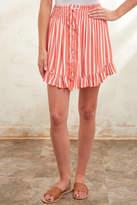 Olivaceous Orange Striped Smocked Waist Mini Skirt Orgm L