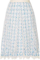 Draper James Lakeville Lace And Gingham Cotton-blend Skirt