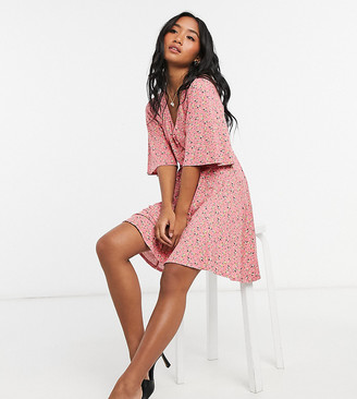 ASOS DESIGN Petite mini swing dress in dusty pink floral print