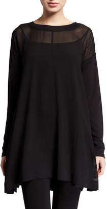 Eileen Fisher Sheer Silk Long-Sleeve Tunic w/ Slip