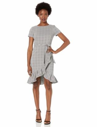 Calvin Klein Women's Petite Short Sleeve Dress with Ruffle Hem and Self Belt