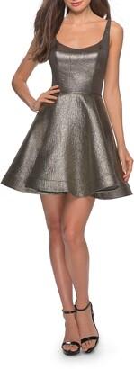 La Femme Metallic Fit & Flare Cocktail Dress
