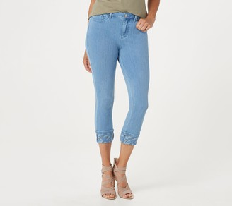 Belle By Kim Gravel Flexibelle Camo Cuffed Cropped Jeans