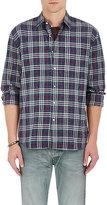 Barneys New York Men's Plaid Cotton-Blend Flannel Shirt-BLUE, RED, BEIGE