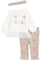 Little Me Infant Girl's Leopard Tunic, Leggings & Headband Set