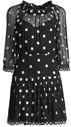 Rebecca Taylor Embroidered Polka Dot Dress