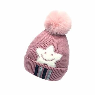 Kolila Hats & Caps kolila Girls Boys Winter Hat Slouchy Warm Beanie Chenille Hats Faux Fur Pompom Chunky Baggy Ski Cap with for Children(