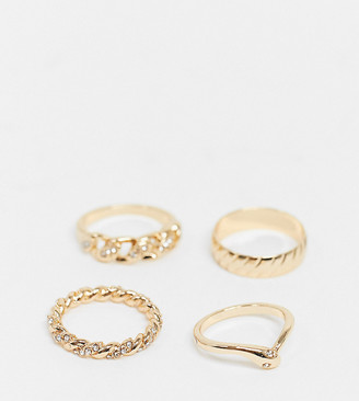 Reclaimed Vintage inspired mixed chain ring pack in gold