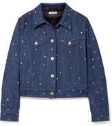 Miu Miu Crystal-embellished Denim Jacket - Mid denim
