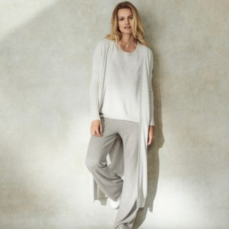 The White Company Longline Cardigan with Cashmere, Cloud Marl, 6