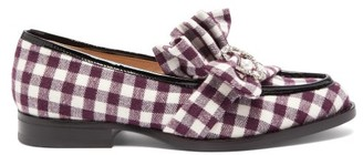 Midnight 00 Antoinette Checked Crystal-embellished Loafers - Burgundy White