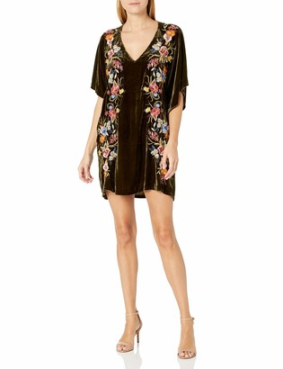Johnny Was JWLA By Women's Velvet Mini Dress with Embroidery and Kimono Sleeve