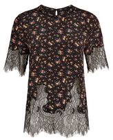 McQ by Alexander McQueen Lace Trim Floral Top