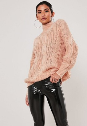 Missguided Cable Knit High Neck Jumper