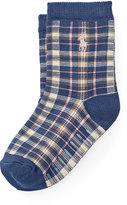 Ralph Lauren Plaid Cotton-Blend Crew Socks