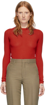 Ami Alexandre Mattiussi Red Fitted Crewneck Sweater