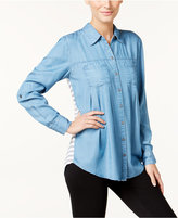 Style&Co. Style & Co. Petite Striped-Back Denim Shirt, Only at Macy's