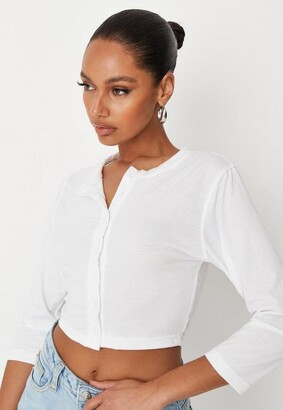 Missguided White Button Front Long Sleeve Crop Top