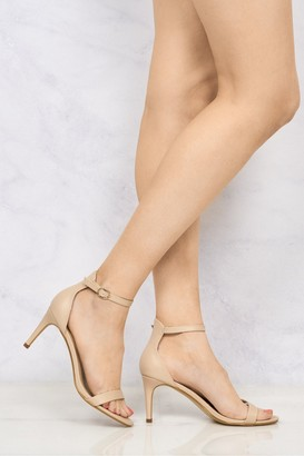 Miss Diva Ayda barely There Mid Stiletto Sandal In Nude Pu