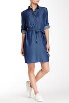 Max Studio Roll Sleeve Dot Denim Shirt Dress
