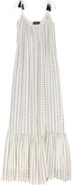 Saloni Edie Tiered Tasseled Jacquard Maxi Dress - White