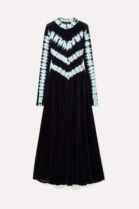 Proenza Schouler Tie-dyed Stretch-velvet Maxi Dress - Midnight blue