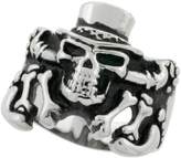 Sabrina Silver Surgical Steel Biker Ring Skeleton with Top Hat 7/8 inch wide, size 11